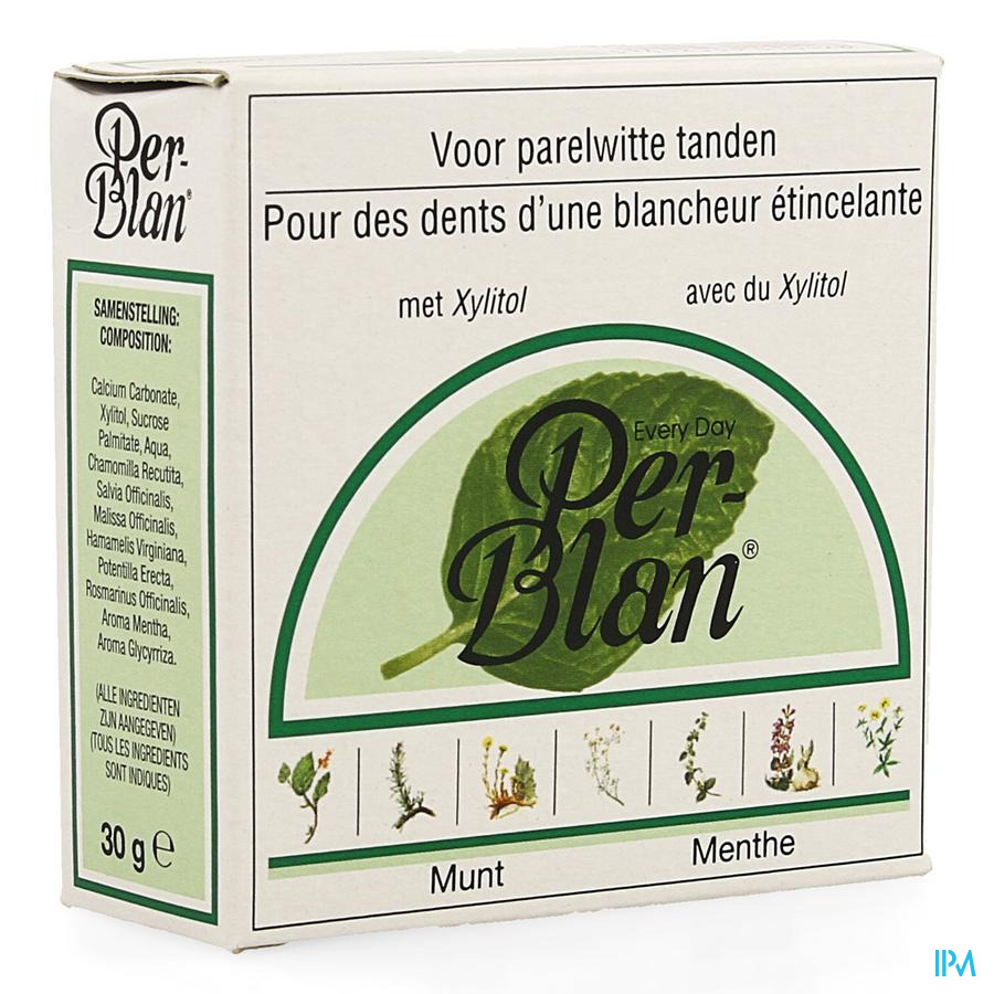 Perblan Poudre Dentifrice Menthe 30g