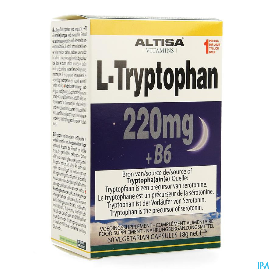 Altisa l-tryptofaan 220mg + B6 V-caps 60