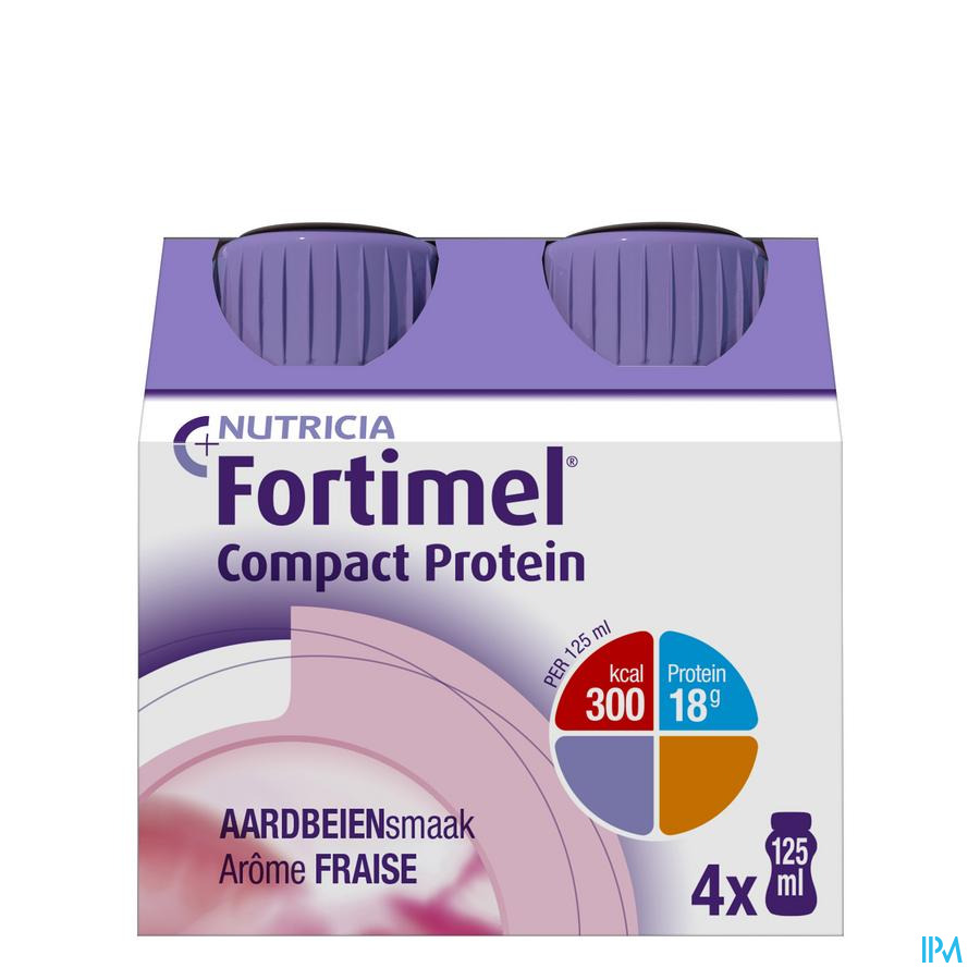 Fortimel Compact Protein Aardbei 4x125 ml  -  Nutricia