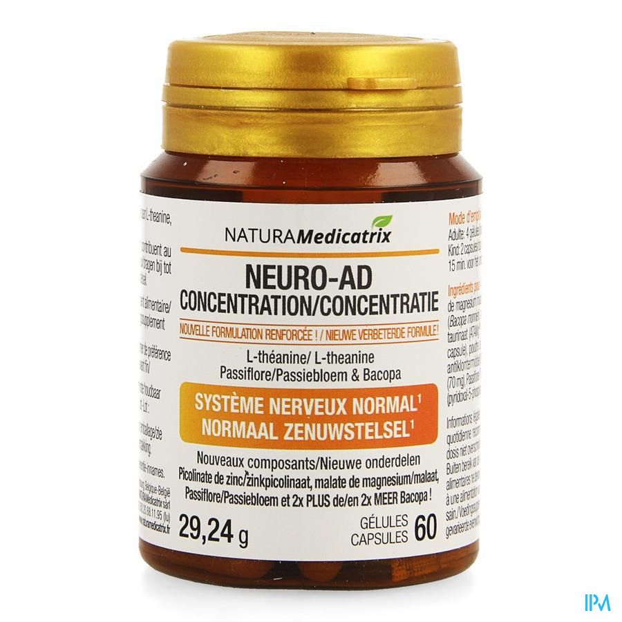 Neuro-ad Concentratie Pot Caps 60