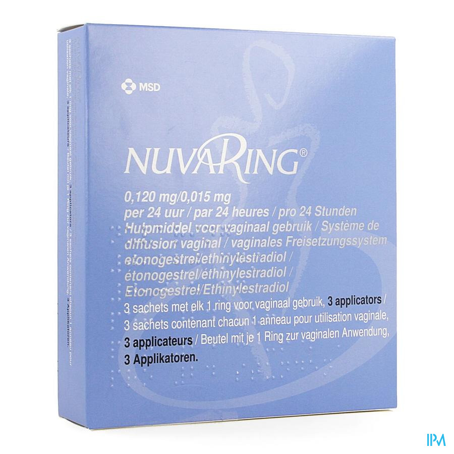 Nuvaring 0,120mg/0,015mg 24h Vagin.ring 3+1 Apll.