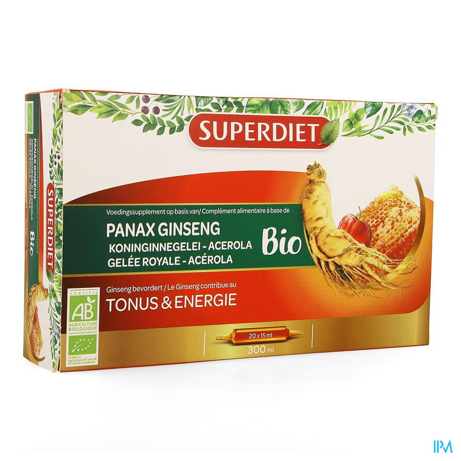 Super Diet Ginseng-koninginnegelei Bio Amp 20x15ml