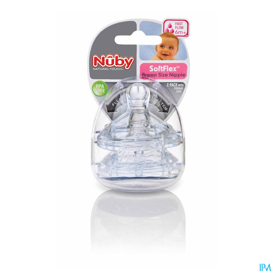 Nûby SoftFlex™ vervangspeen - fast flow – 6m+