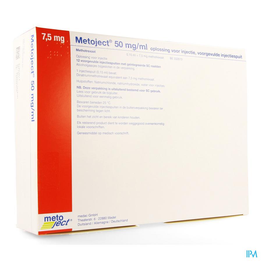 Metoject 50mg/ml Opl Inj Voorg Sp 7,5mg/0,15ml 12