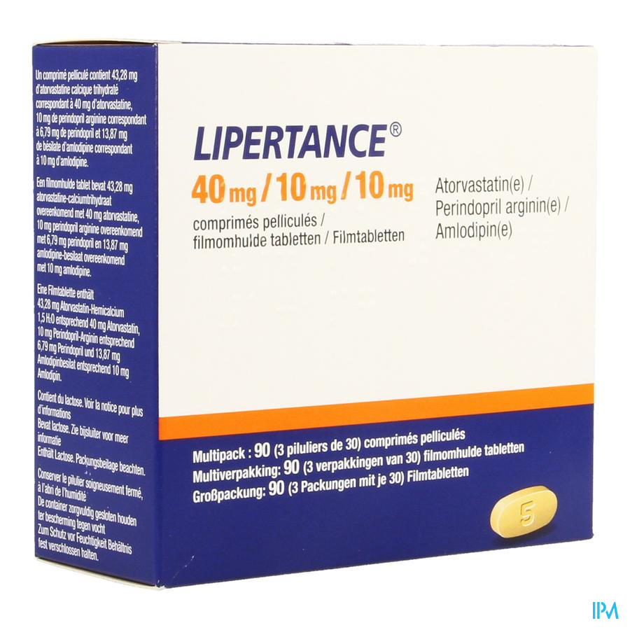 Lipertance 40 mg/10 mg/10 mg Filmomhulde Tabletten 90