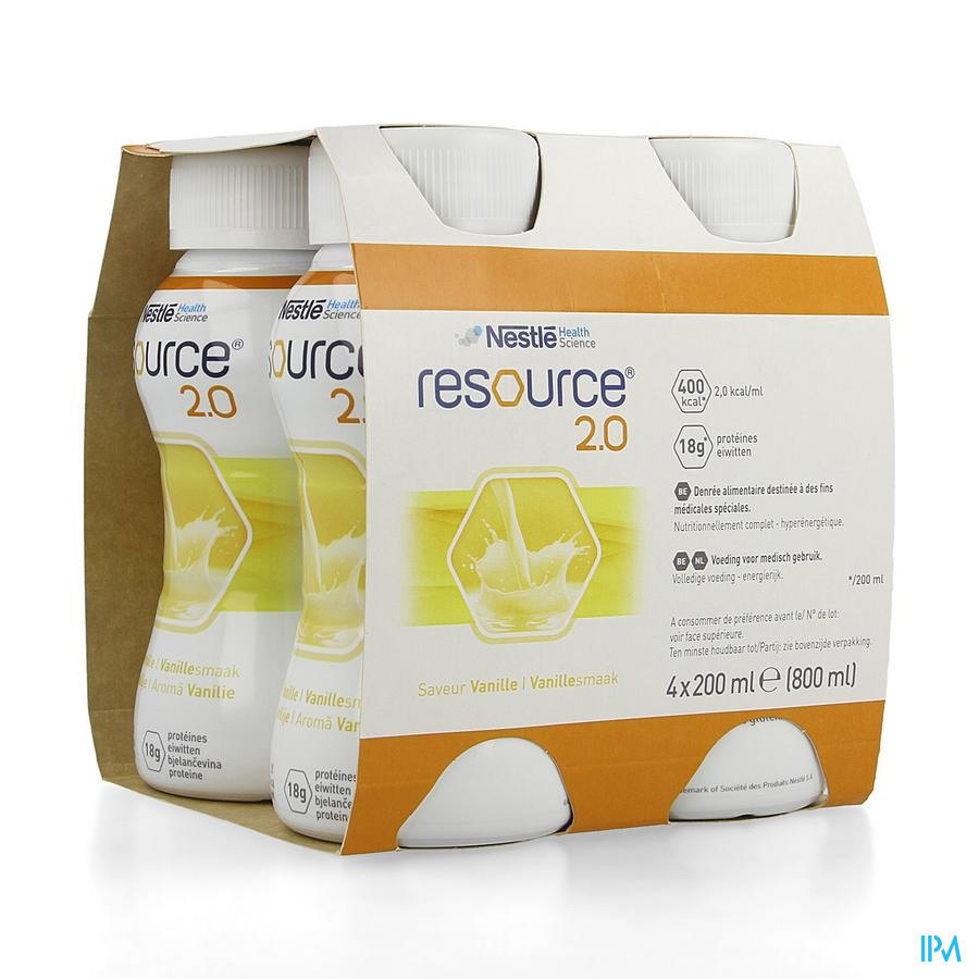 Resource 2.0 Vanille 4x200 ml 12100535  -  Nestle Belgilux