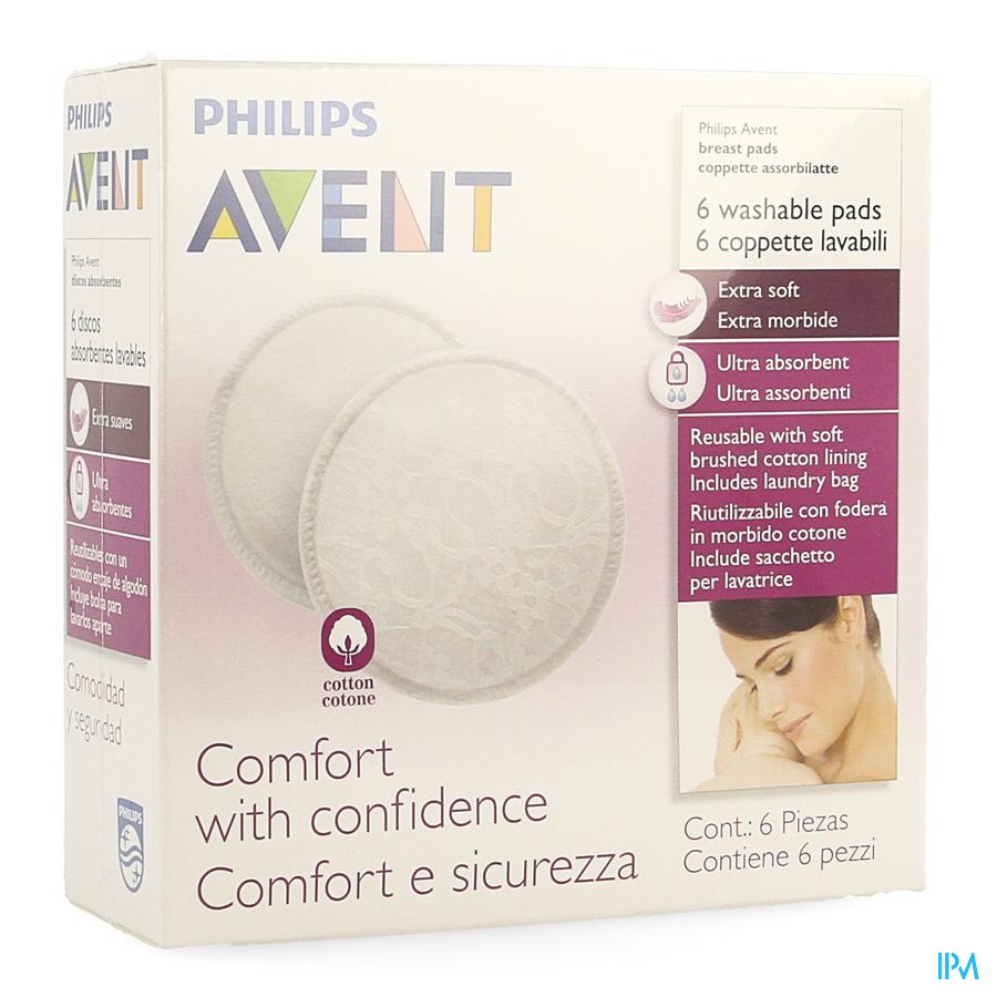 Philips Avent Coussinet Allaitem.lavable 6 SCF155/06