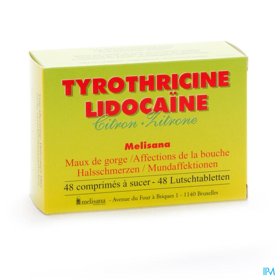 Tyrothricine Lidoca Citron Comprimes 48  -  Melisana