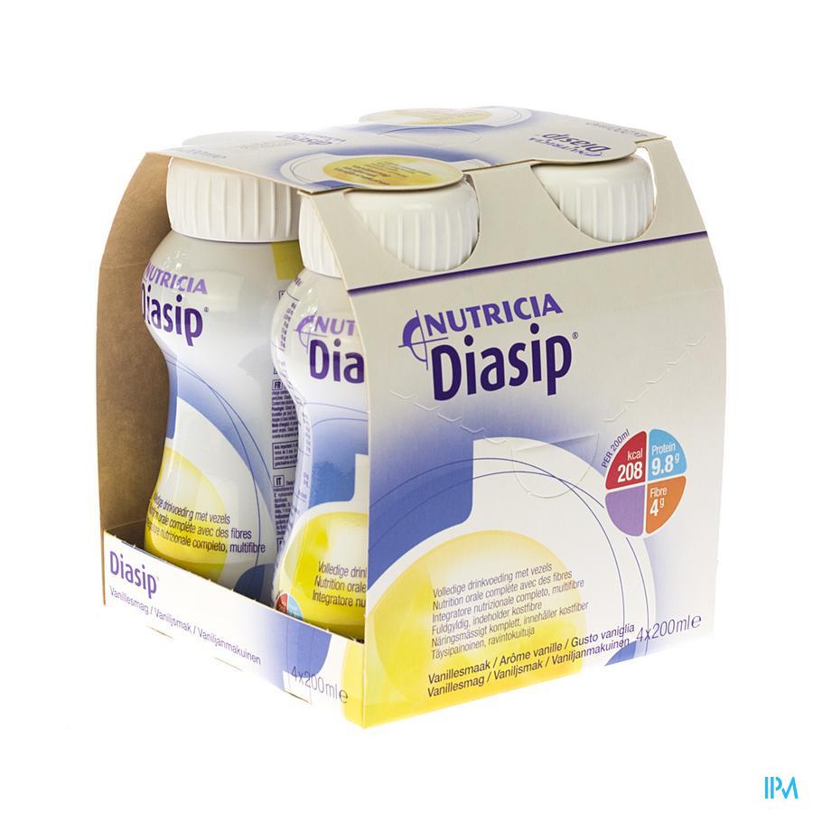 DIASIP VANILLE FLES 4X200ML NF