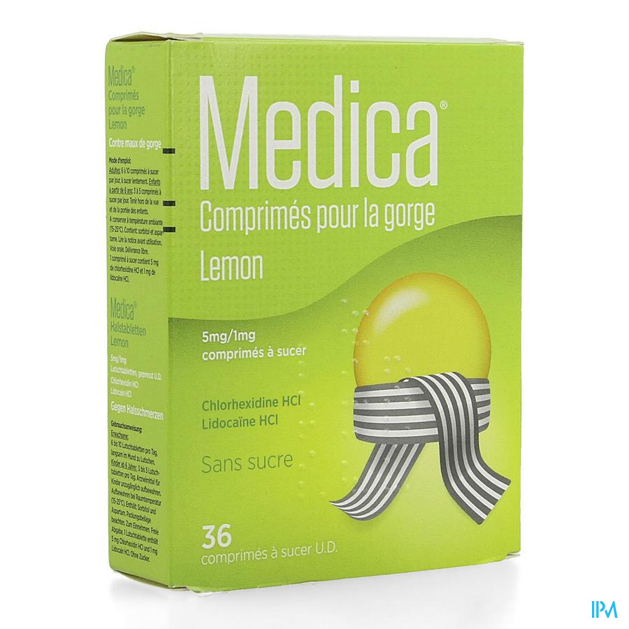 Medica Comprimes Gorge Lemon Comp A Sucer 36