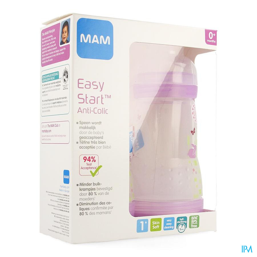 Mam Zuigfles Easy Start A/colic 260ml Meisje 2pack