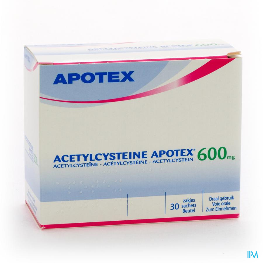 Afbeelding Acetylcysteïne Apotex 600mg 30 zakjes.