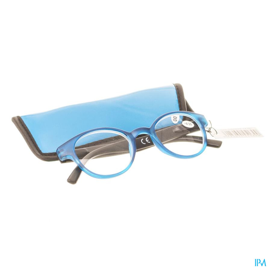 Pharmaglasses Leesbril Round +4.00 Blue/black