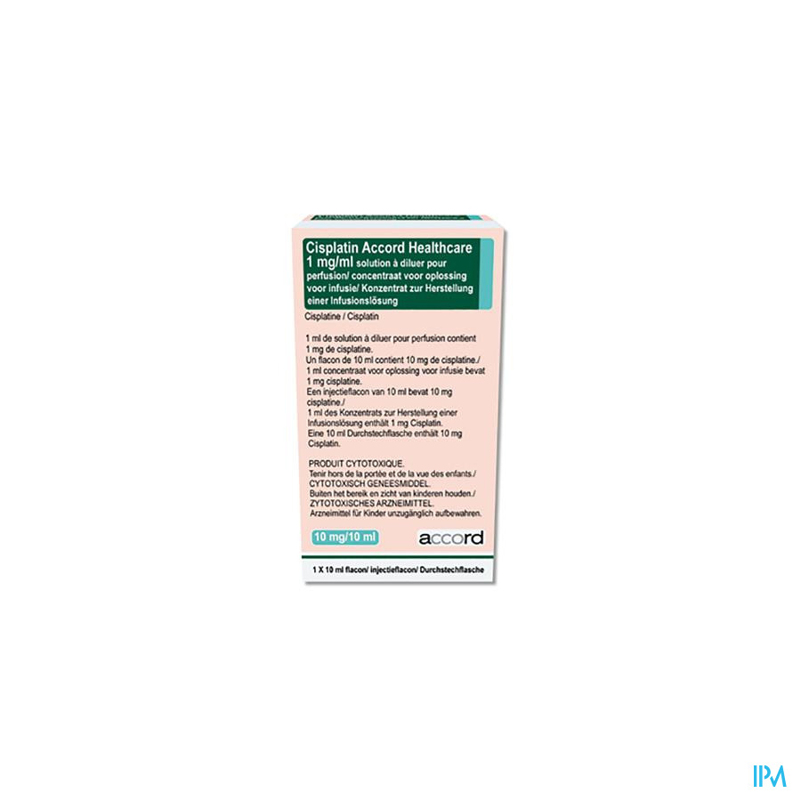 Cisplatin Accord Healthcare Inf. Oplossing (conc.) I.V. 1x 10 mg/10 ml