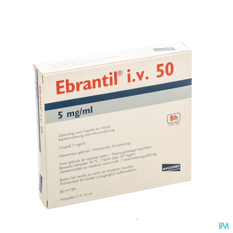 Ebrantil Iv 5 Amp 10ml 50mg