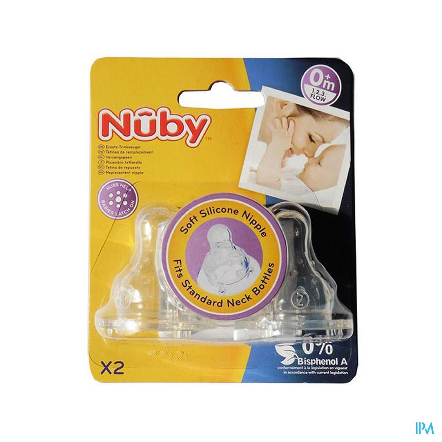 Nûby Antikoliek speen voor standaard halsfles – 1.2.3 flow – 0m+