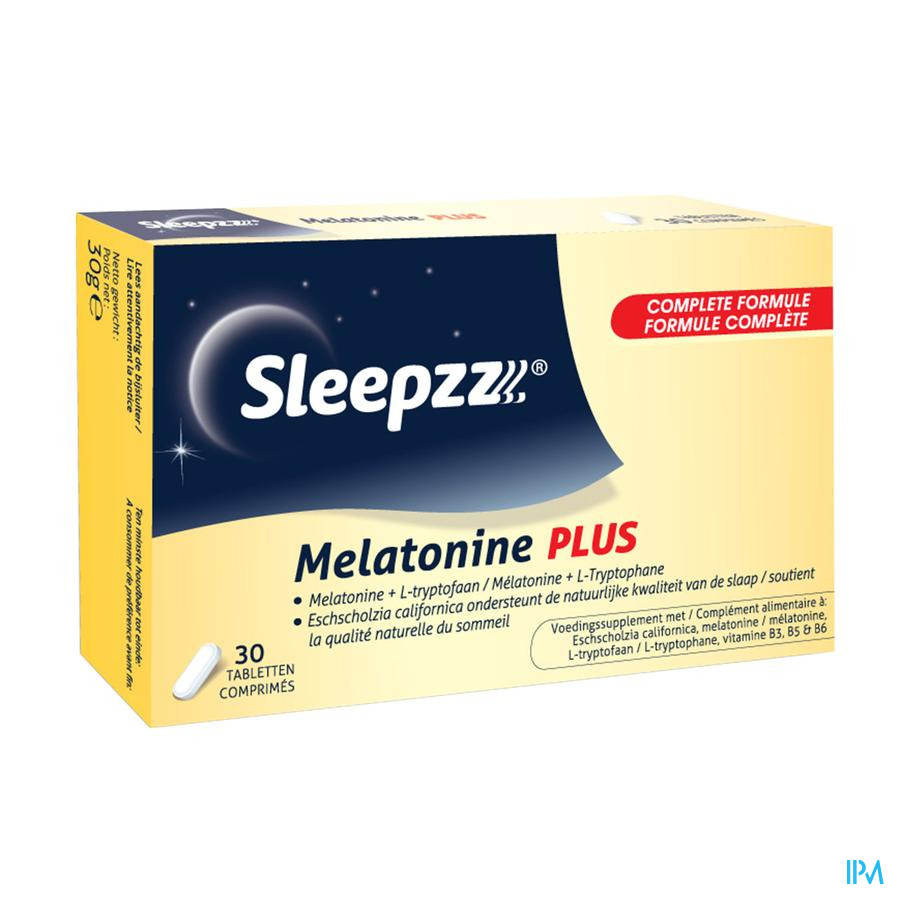 Afbeelding Sleepzz Melatonine Plus 30 Tabletten.