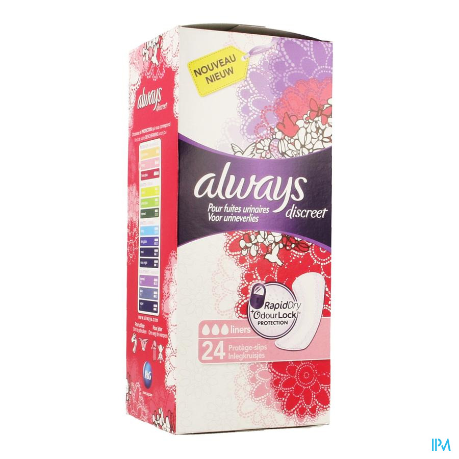 Always Discreet Incontinence Liner Normal 24