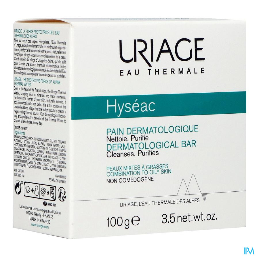 Uriage Hyseac Wasstuk Dermatolog. Zeep 100g