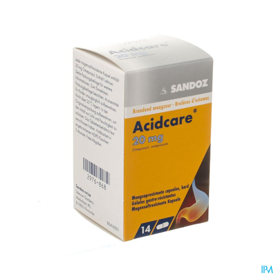 Acidcare 20mg Sandoz Caps Gastro Res 14 X 20mg