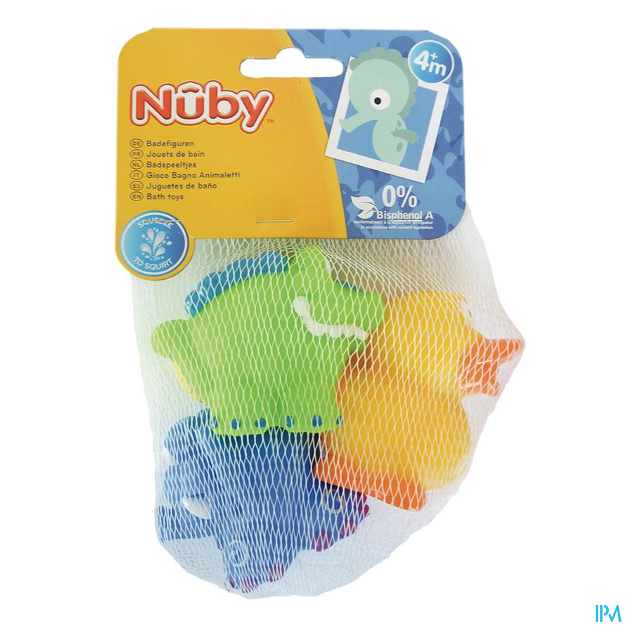Nuby Spuitende badspeeltjes: Krokodil, Olifant en Eend - 4m+