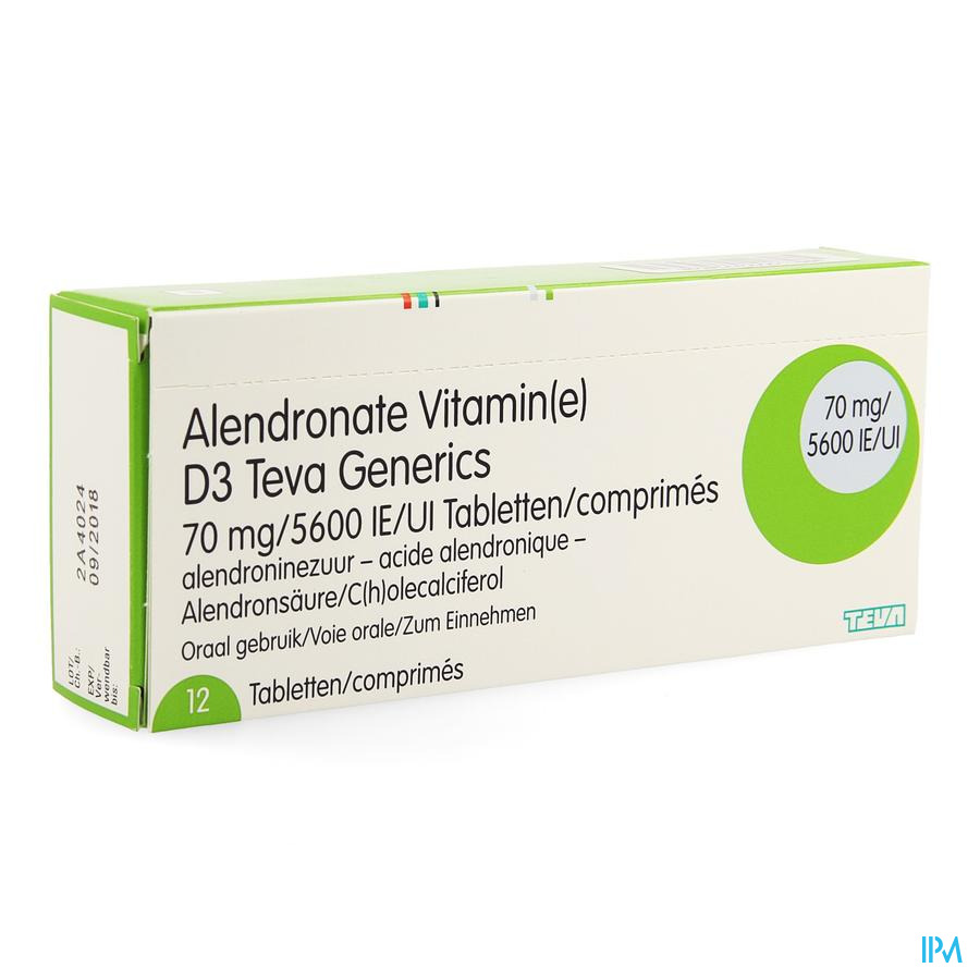 Alendronate Vit D3 Teva Generics 70mg/5600ie 12