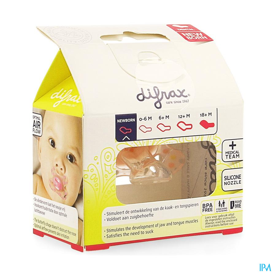 Difrax Fopspeen Newborn Dental Sil Girl-2/2m 1 796