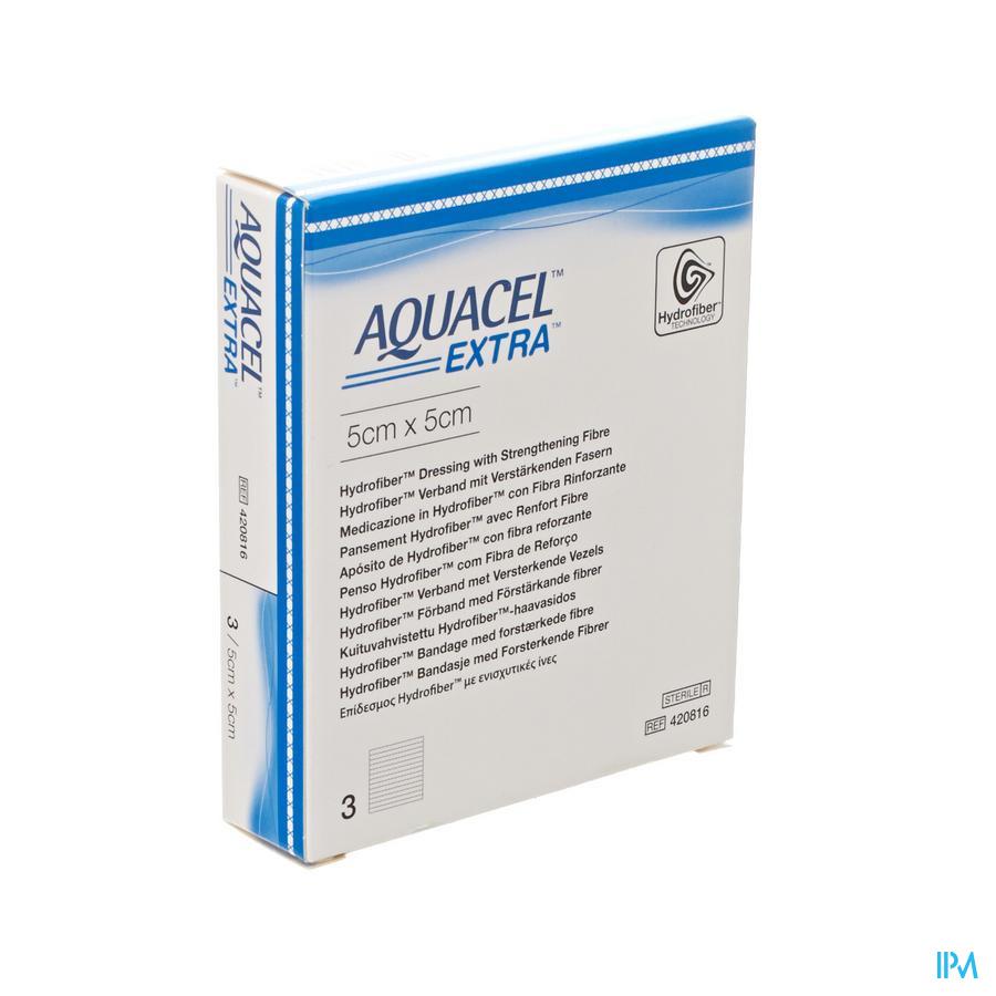 Aquacel Extra Verb Hydrofiber+versterk. 5x 5cm 3