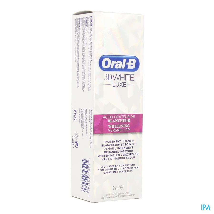 Oral B 3d White Luxe Withening Versnel. Tube 75ml