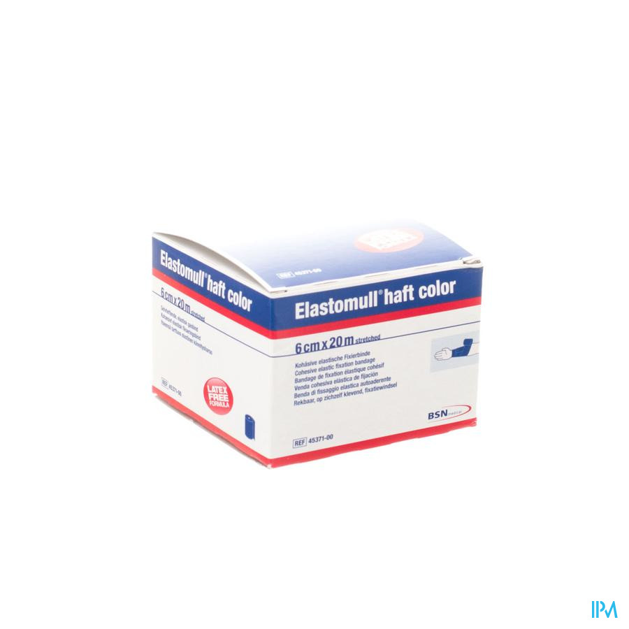 Elastomull Haft Latexvrij 6cmx20m Blauw 4537100