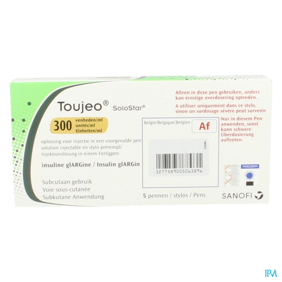 Toujeo Solostar 300e/ml Opl Inj Voorgevulde Pen 5