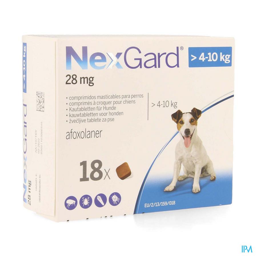 Nexgard 28mg >4 - 10kg Kauwtabl 18