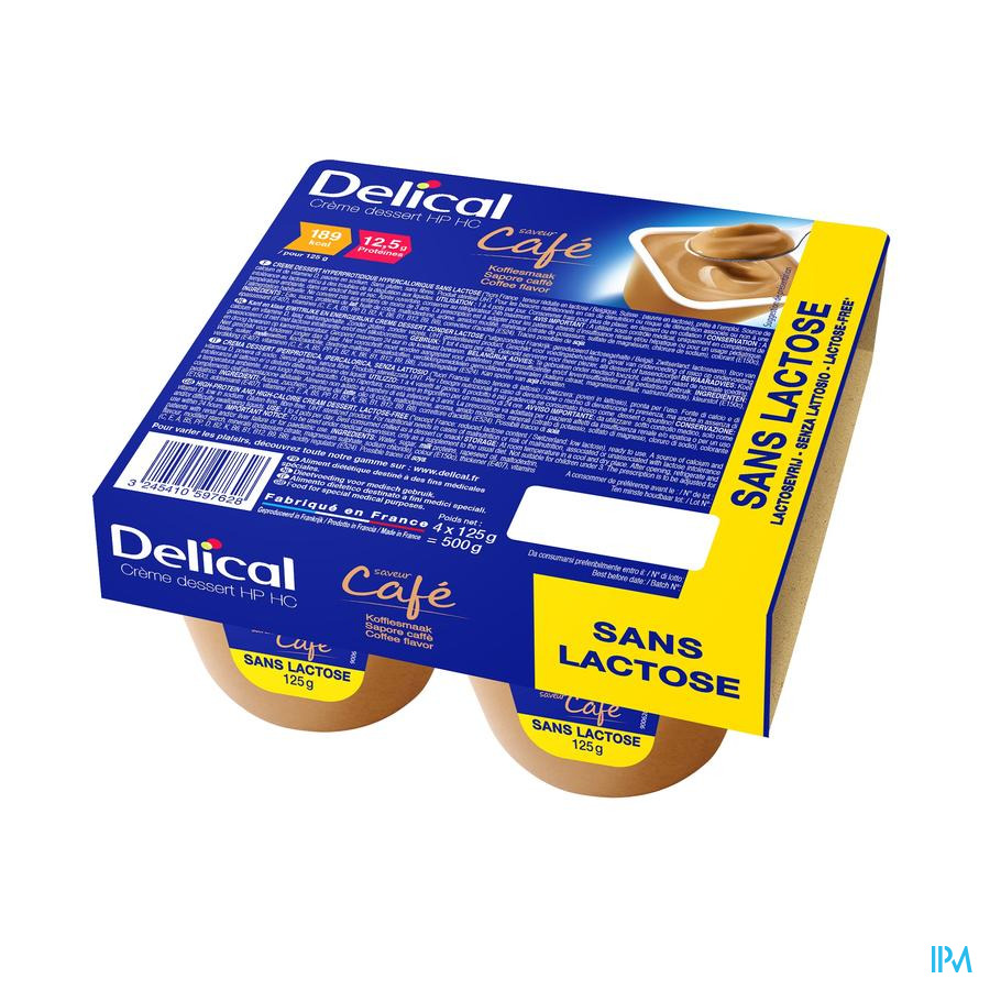 Delical Creme Dessert Hp-hc S/lact.cafe 4x125g