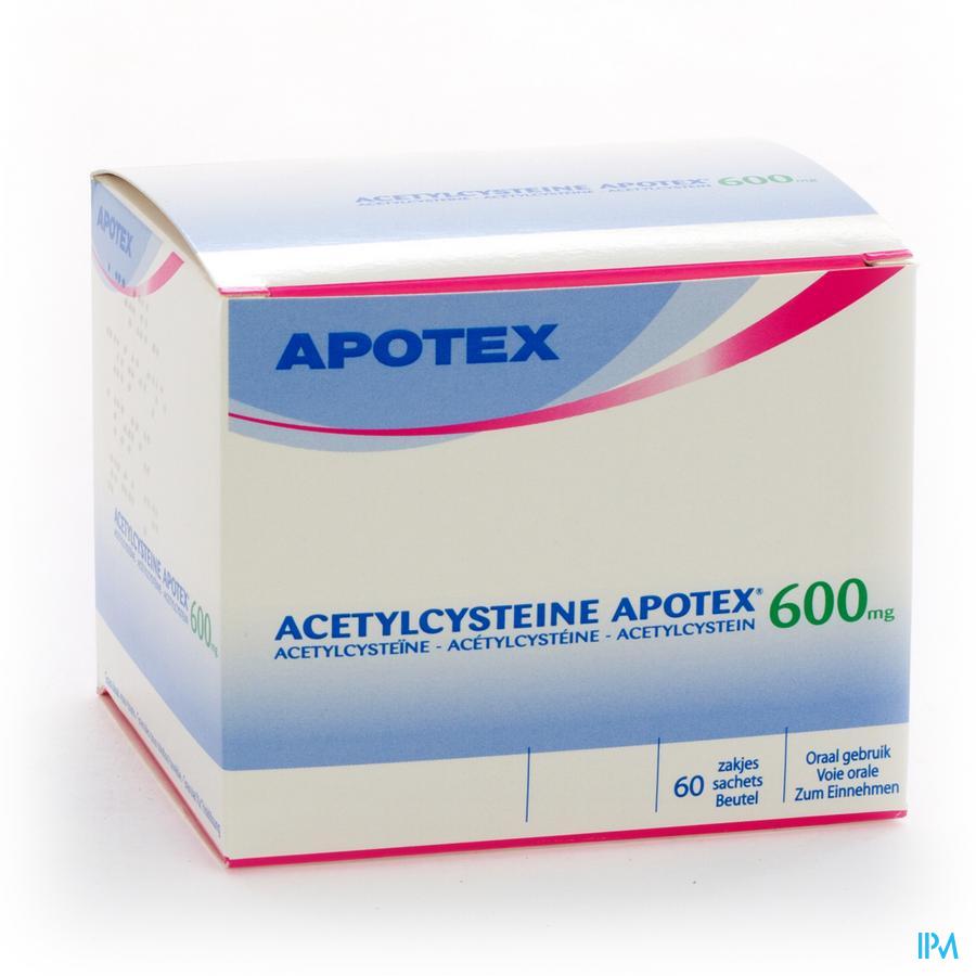 Afbeelding Acetylcysteïne Apotex 600mg 60 zakjes.