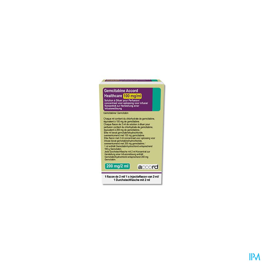 Gemcitabine Accord Healthcare Inf. Oplossing (conc.) I.V. 1x 200 mg/2 ml