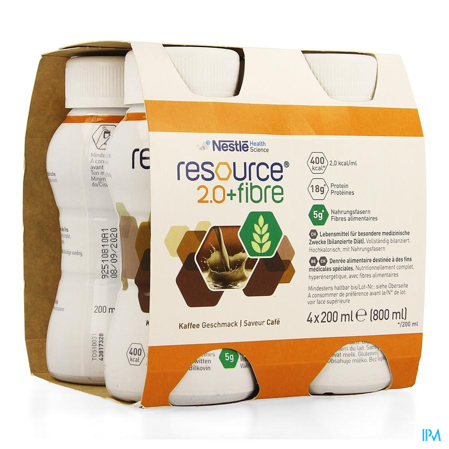 Resource 2.0 Fibre Koffie 4x200 ml 12100790  -  Nestle Belgilux