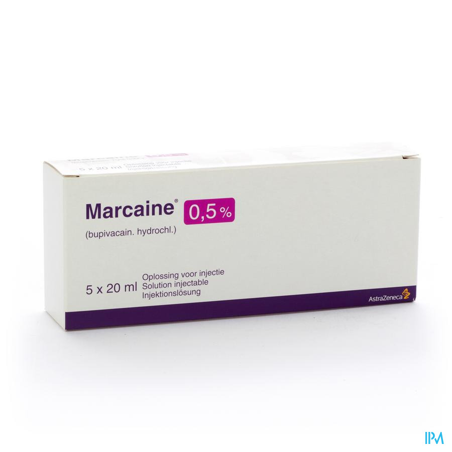 Marcaine Sol. Inj. 5 X 20ml 0,50 %